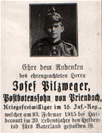Private Bilzmeger 16 Inf Reg Killed Hardecourt 23rd Feb 1915