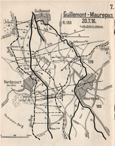 German Map showing actions around Hardecourt 20th July 1916